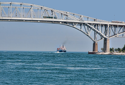 the Blue Water Bridge between Michigan and Canada