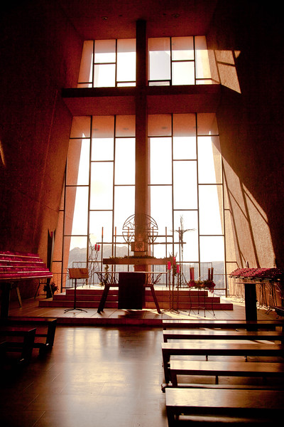 Inside the Chapel of the Rock.  Simple, and peaceful.