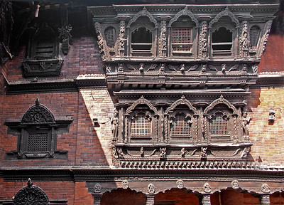 Windows on the house of the Living Goddess, Nepal