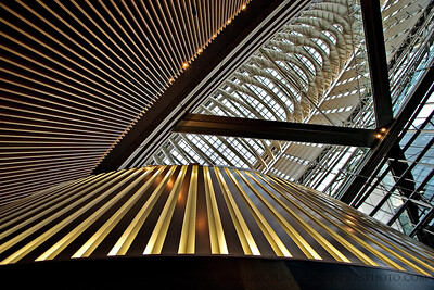 Looking up inside the Tokyo International Forum.