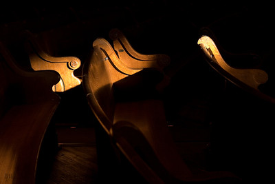 Sunlight dapples the pews.  Ryman Theater, Nashville, TN.