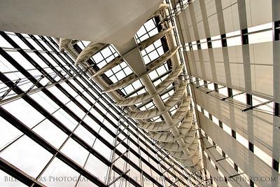 Looking up inside the Tokyo International Forum.