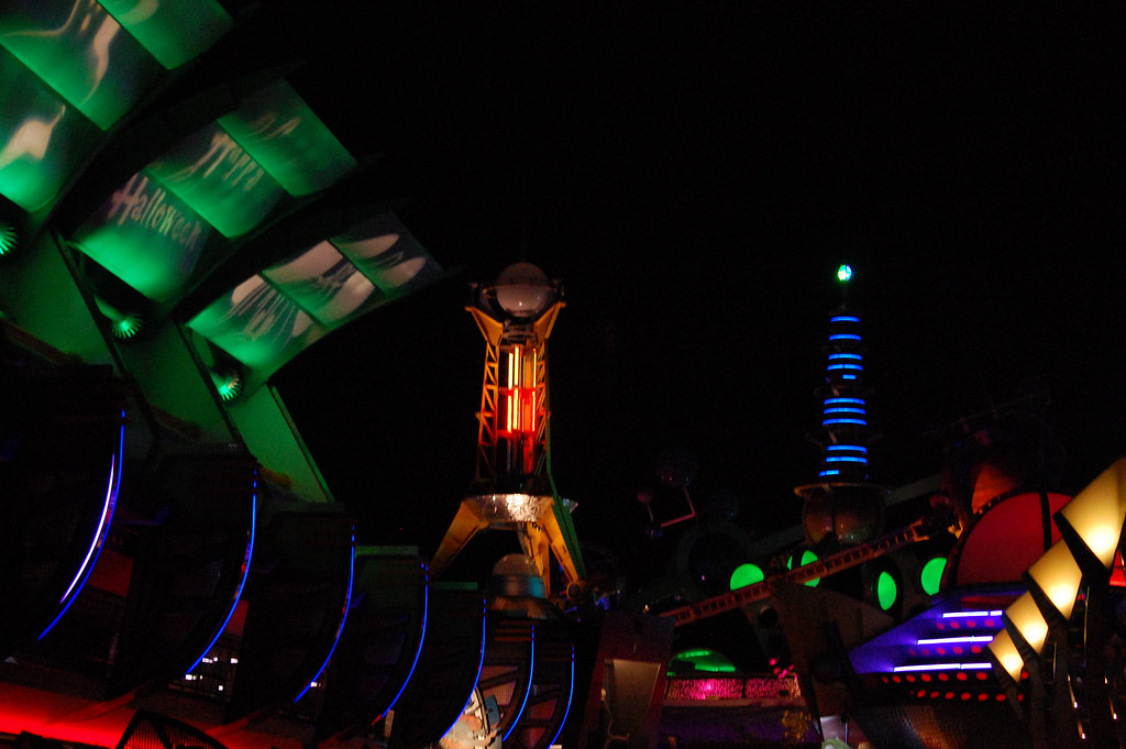 Nightime brings on a whole new set of photographic opportunities. This is Tomorrowland at Disneyworld during the Not So Scary Halloween Party.
