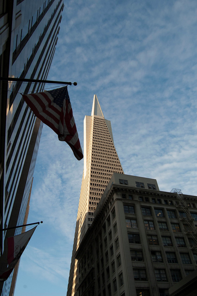 The San Francisco Transamerica building with the American Flag beckoning to all who pass.