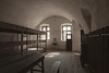 One of the dormitory rooms in the Little Fortress at Terezin. Used as a transit and prison camp in World War II by the Germans, this room held approximately 50 people in the bunks on the left.