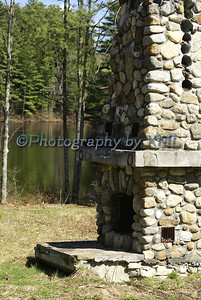 Stone Fireplace by the Lake