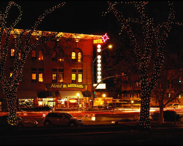 The Hotel St Michael on the square in Prescott, AZ.  They had a tree lighting in the square, and I turned around and saw this.  The temperature was below freezing, and the hotel has great lattes, so I felt obligated to enjoy a couple.
