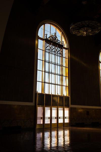 Interior window in Union Station, Los Angeles