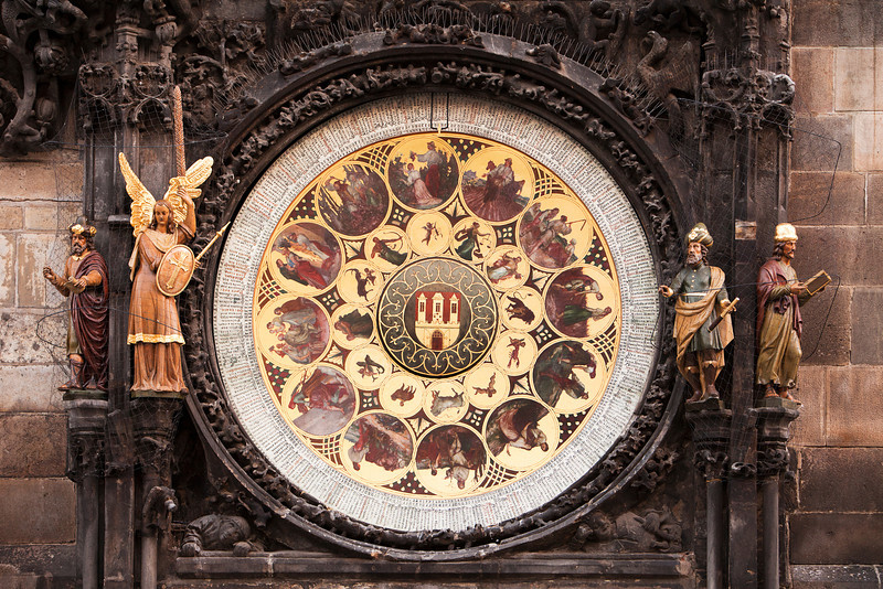 The ornate calendar dial, showing the 12 months of the year, is part of the mechanism of the Prague Astronomical Clock or the Prague Orloj.