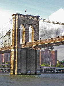 A portion of the Brooklyn Bridge, NYC, USA