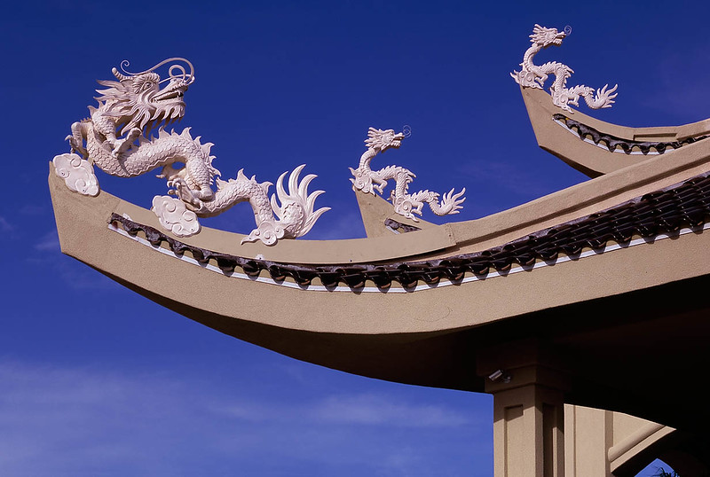 These ferocious dragons guard an ornate church in Phoenix, AZ.  Dragons are a symbol of power.