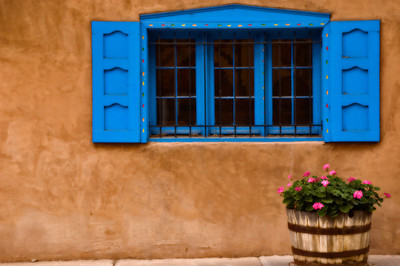 Blue Window with Geraniums