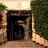 The front door of the Royal Palms Inn, in Phoenix, AZ decorated for Christmas.  The property was originally built in 1929 as a summer retreat for Cunard Steamship company executive Delos Cooke.  It has been remodeled into a high end resort.