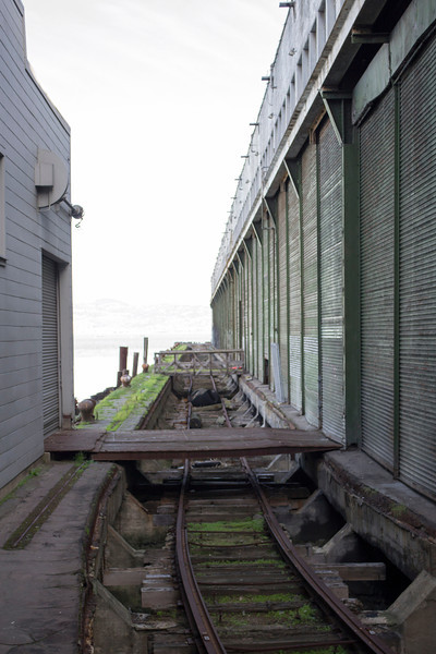 Old train tracks near the San Francisco piers.