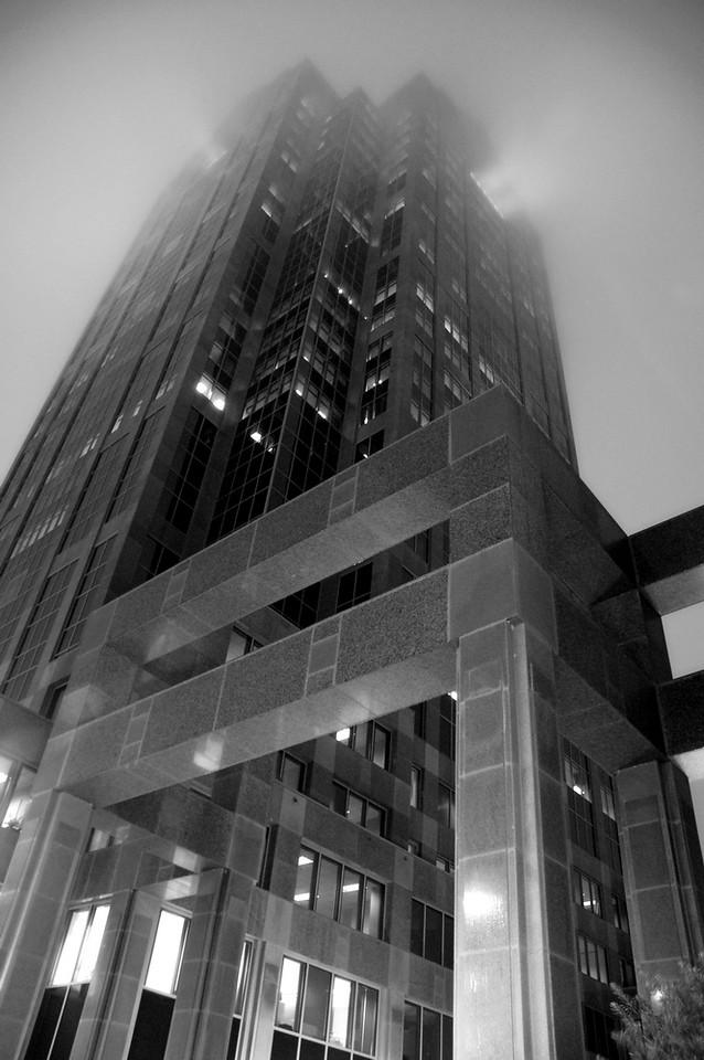 monolith and fog