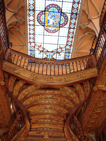 Upper section of the staircase inside the Lello bookshop.