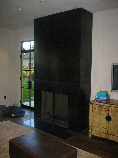 Blued steel and waxed fire place - King residence, Pasadena, CA