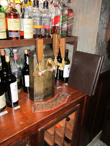 Aged steel beer tap with fumed oak handles - Raymond Restaurant, Pasadena, CA