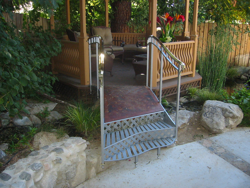 Steel, brass, clear redwood, and copper gazebo bridge - Johnson residence, La Canada, CA