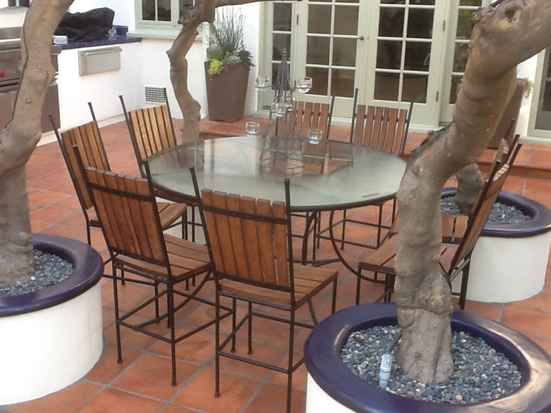 Whiskey barrel patio set - Miller residence, San Marino, CA