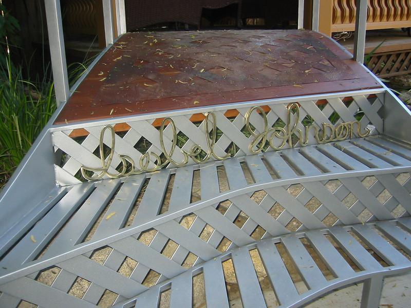 Lettering on Steel, brass, clear redwood, and copper gazebo bridge - Johnson residence, La Canada, CA