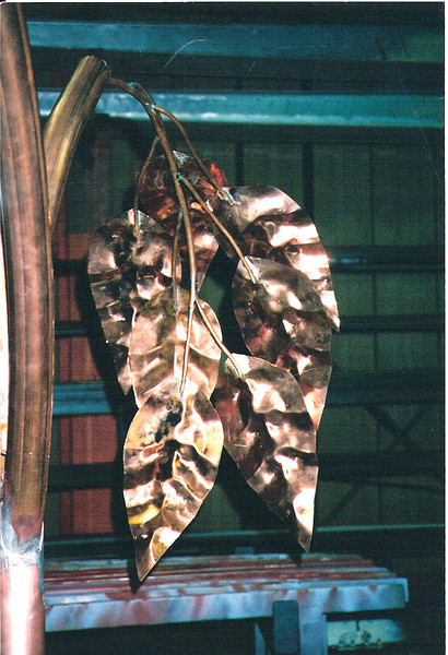Stamped copper leaves, canopy study - Wood Estate, Springville, CA