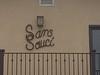 """Sans Sauci"" sign - Tredwell beach residence, Ventura, CA"