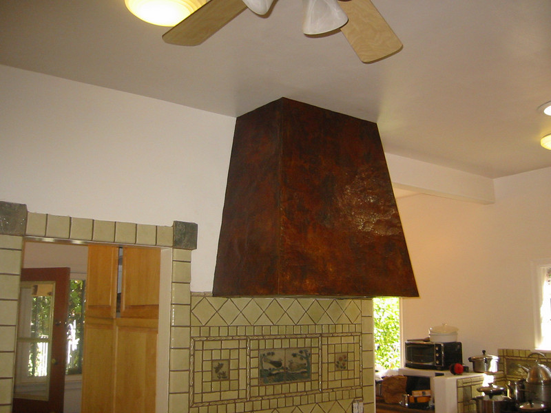 Hammered and aged copper stove hood - Stewart Estate, Monrovia, CA