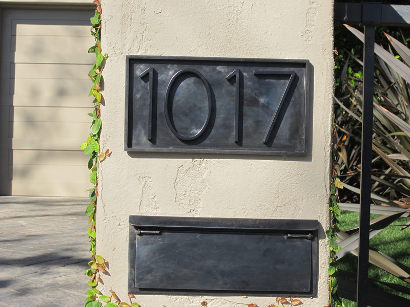 Blackened Steel mailbox and address placket - Braun residence, Pacific Palisades, CA