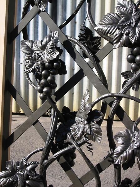 Close-up of window grille for wine cellar door