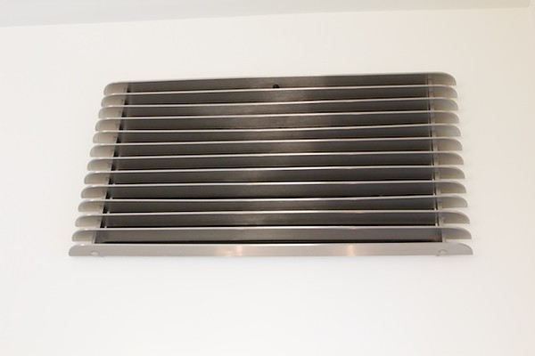 Polished stainless steel A/C grilles - Yelin residence, Westwood, CA