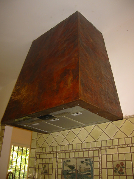 Hammered and aged copper stove hood close-up - Stewart Estate, Monrovia, CA
