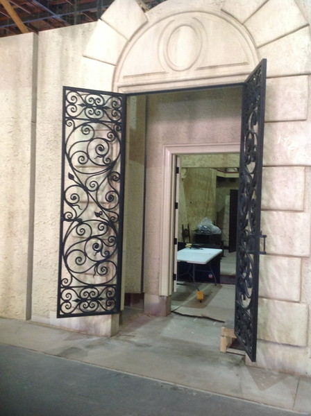"Baby Jane's wrought iron entry doors on the set of ""Fued"""