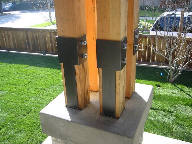 Blued steel porch bracketry - Erickson Residence, Sierra Madre, CA