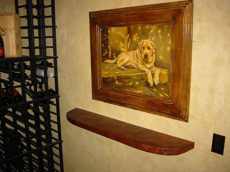 Hammered and aged copper wine cellar table - King Residence, Pasadena, CA