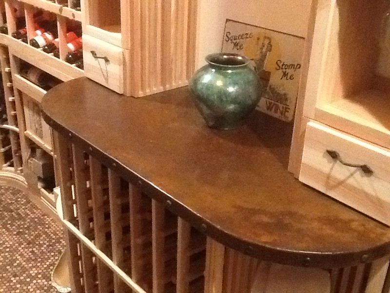 Copper table-top in wine cellar - Lyng residence, La Canada, CA