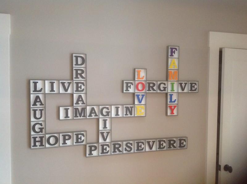 Crossword puzzle wall-hanging - DeCarolis residence, Santa Monica, CA