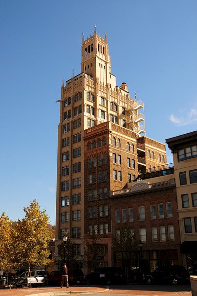 The Jackson Building, designed by Ronald Greene, is a Neo Gothic steel-framed brick and terra-cotta structure on a lot only 27x60 feet .  It was the first skyscraper in western North Carolina, build in 1923-24.
