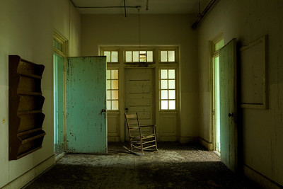 Rocking chair on the ward in the Babcock Building at South Carolina State Hospital.