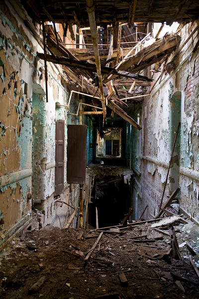 Fourth-floor corridor in the Male Wards at Hudson River State Hospital.