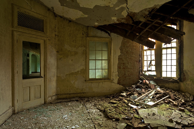 First-floor dayroom in 1854 Kirkbride building, Taunton State Hospital.  This site has since been demolished.
