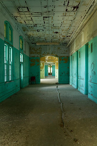 Top-floor corridor of innermost brick ward at Buffalo State Hospital.