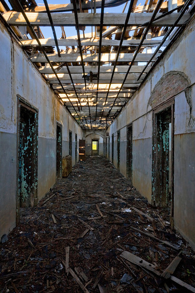 Top-floor hallway in the Walker (male convalescent) building, Central State Hospital.