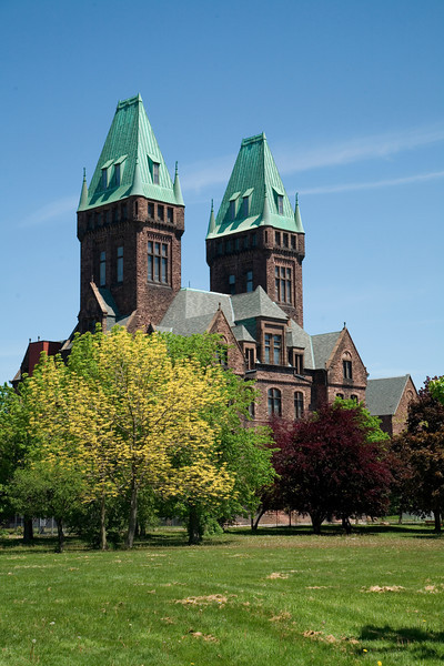 The distinctive administrative pavilion of Buffalo State Hospital, H. H. Richardson's first commission that displayed his characteristic Romanesque style.