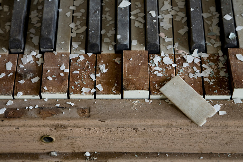 Destroyed piano in dilapidated ward building, Westborough State Hospital.