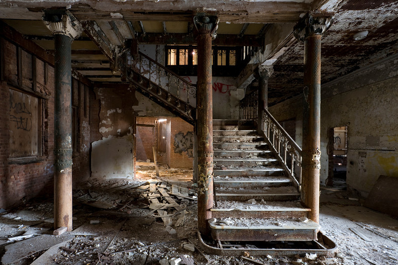 Cast-iron grand staircase in the Samuel R. Smith Infirmary.  This site has since been demolished.