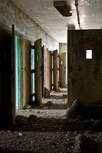 Fourth-floor seclusion hallway, Creedmoor State Hospital.  The entire floor has turned into a rookery, and the pigeon feces is three feet deep in places.