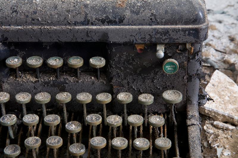 Detail of typewriter found in print shop, Building 25, Creedmoor State Hospital.
