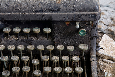 Detail of typewriter found in print shop, Building 25, Creedmoor State Hospital.