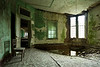 Second-floor dayroom in 1854 Kirkbride building, Taunton State Hospital.  This site has since been demolished.